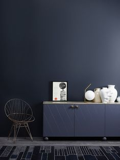 Jotun Lady launched their new color chart last week, and I was there to see all the colors live. With all the talented people working at Jotun Lady, I knew Dark Walls, Blue Walls, Jotun Lady, Living Spaces, Living Room, Interior Decorating, Interior Design, Modern Cabinets, Blue Rooms