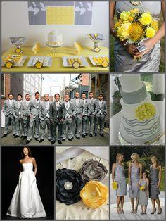 Modern Yellow & Gray Wedding #attire #decor #bouquet