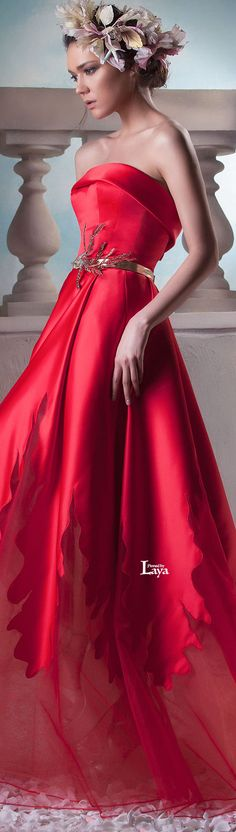 ♔LAYA♔HANNA TOUMA S/S 2015 COUTURE♔ Delicate red strapless gown with gold leaves belt and sheer panels at the bottom.