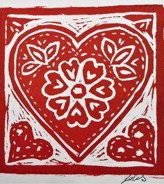 'Heart lino print, made with love' Drawstring Bag by OakendOriginals Birthday Cards To Print, Lino Art, Handmade Stamps, Linoprint, Textile Artists, Linocut Prints, Heart Art, Pattern Wallpaper, Art Images