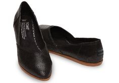 Black Crackled Leather Women's Jutti Flats