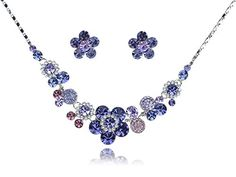 Cute Synthetic Amethyst Swarovski Crystal Element Proper Daisy Flower Earring Necklace Set * To view further for this item, visit the image link.