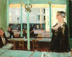 Café du Châtelet  -  Rudolf Zender, 1949  Swiss, 1901-1988  Oil on canvas,  73 x 92 cm