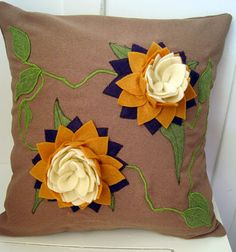 Felt Lotus Applique and Embroidered  Purple Mustard and Green Wool Blend Pillow 16 x 16. $200.00, via Etsy.