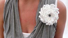 Crochet Brooch Pin Jewelry Flower White Tea by stripeylighthouse, £10.00