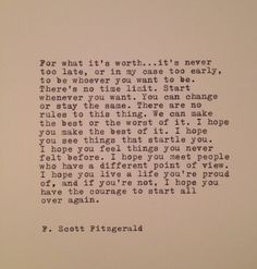 F. Scott Fitzgerald Quote Made On Typewriter von farmnflea auf Etsy, $12,00