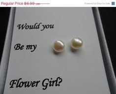 Pearl Earrings - Sterling Silver Stud, Freshwater Pearl, Birthday Gifts, Bridesmaid Gifts, Flower Girl Gifts, June Birthstone on Etsy, $6.29