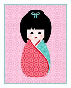 Kokeshi Doll Series Wall Print - Hina $7