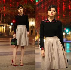 """""""Classy"""" by Adriana G., 24 year old from Mexico. Chicwish Faux Leather Skirt, Asos Boxy Bag, Andrea Red Vamp Pumps. The boatneck sweater over a patterned buttonup here is soooo chic"""