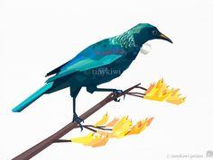 Tui, New Zealand Native Bird, Geometric print Nature Prints, Bird Prints, Tui Bird, Geometric Artwork, Bird Illustration, Quilted Wall Hangings, Bird Design, Bird Art, Nursery Wall Art