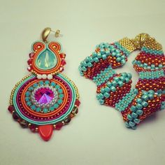 Earrings soutache embroidery by mariella di miceli