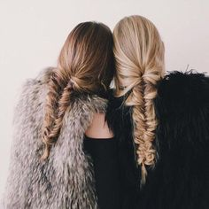 Matching braids and fur coats!