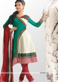 Angrakha pattern green and off white shade traditional salwar kameez, designed with sequins and thread work. Contrast patch at hem with floral embroidery gives the designer look. It will look good for any special occasion. Offer Price: $90.00 http://goodbells.com/salwar-suits/traditional-pattern-green-and-off-white-salwar-kameez.html