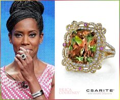 """Indoors or outdoors — by day or night — Csarite radiates a subtle, sophisticated appeal with its ability to change a variety of colors under different light sources. Los Angeles, CA – """"The Leftovers"""" actress Regina King looked chic and sophisticated as she joined HBO's panel discussion for her new show at the 2015 Summer TCA Tour in Beverly Hills. King accessorized with a CSARITE® by Erica Courtney Jewelry picture frame ring featuring a 17.32CT CSARITE® stone. #csarite #ReginaKing…"""