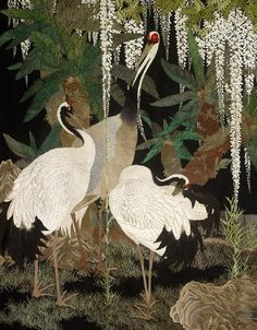 Large embroidery of Cranes, Cycads, and Wisteria (detail). Circa 1905, Japan. © Ashmolean Museum, University of Oxford.