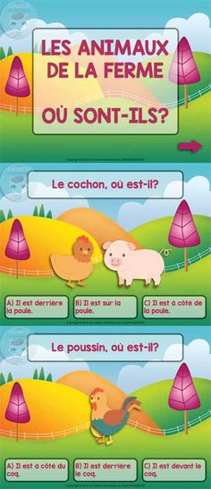 Farm Animals in French and Prepositions Quiz - For French Immersion - Farm animals in French and prepositions – a SlideShare QUIZ For French Immersion – farm animals - French Teaching Resources, Teaching French, Teaching Spanish, Teaching Reading, Teaching Tools, French Lessons, Spanish Lessons, How To Speak French, Learn French