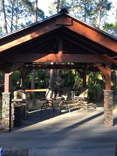 Backyard Pavilion Design with 'Stacked Stone' Columns Faux Panels, Stone Panels, Backyard Pavilion, Pavilion Design, Stone Siding, Kitchen Pictures, Kitchen Ideas, Outdoor Living, Outdoor Decor