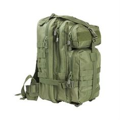 NcSTAR Small Backpack This backpack by NcSTAR features a main zippered compartment with an internal zippered pocket, the middle with three internal pockets and top and bottom front pockets with MOLLE compatible web ring to transform into a modular system. The NcSTAR Small Backpack also has a large padded hydration bladder compartment on the back with a Velcro enclosure