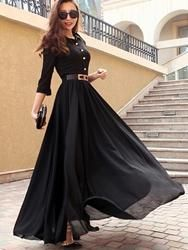 Best fabrics to choose for Long Dresses long dress button decorated black turndown collar maxi dress-size l tefkded Maxi Dress With Slit, Dress Up, Barbie Dress, Pretty Dresses, Beautiful Dresses, Dress Outfits, Fashion Dresses, Maxi Dresses, Long Dresses