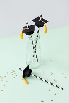 Graduation Cap Paper Straws | like-the-cheese.com for Silhouette