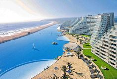 The largest man-made saltwater swimming pool at the San Alfonso del Mar Resort in Algarrobo, Chili