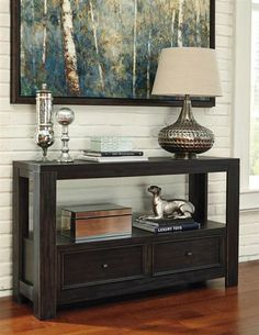 Gavelston Vintage Casual Rubbed Black Sofa Table
