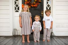 Morning Hunt Smocked outfits by Crescent Moon Children.  #smockedclothing #thanksgiving #childrensclothing #boutiqueclothing