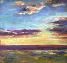 Summer Sunset by James Roybal Pastel ~ 8 x 8