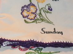 Pansies for a Sunday flour sack dish towel with crochet trim