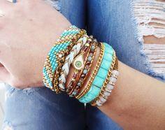 turquoise brazilian bracelet, boho style, multi strand wristband, magnetic clasp closure, hippie cuff, summer bracelet by What2WearByNana on Etsy