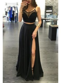 USD$149.00 - Sexy Black Illusion Two Piece Prom Dress 2017 Front Split Spaghetti Strap BA3973 - www.27dress.com