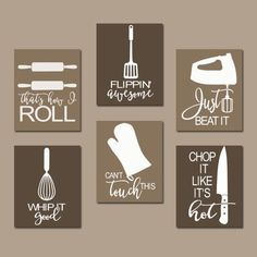 Kitchen canvas - kitchen quote wall art funny utensil wall decor canvas or prints just beat it how i roll dining room decor set of 6 choose your colors Kitchen Wall Art, Diy Kitchen, Kitchen Decor, Kitchen Canvas Art, Kitchen Ideas, Decorating Kitchen, Kitchen Wall Sayings, Kitchen Wall Decorations, Funny Kitchen Quotes