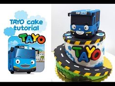 Bus Cake, Tayo The Little Bus, Cake Decorating Tutorials, Cake Tutorial, 2nd Birthday, Minions, Baking, Party, Recipes
