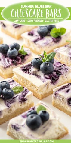 Blueberry cheesecake bars made without sugar or grains. These little gluten-free bars cut perfectly, hold together exceptionally well and make a perfect out the door breakfast treat. This low carb dessert is simple to pull together and works with just ab Blueberry Cheesecake Bars, Gluten Free Cheesecake, Low Carb Cheesecake, Cheesecake Recipes, Keto Friendly Desserts, Low Carb Desserts, Gluten Free Desserts, Dessert Recipes, Cookie Recipes