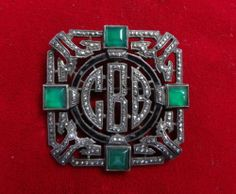 Vintage JM Sterling Silver Marcasite 3 Initial Pin Brooch with Green Accents   eBay