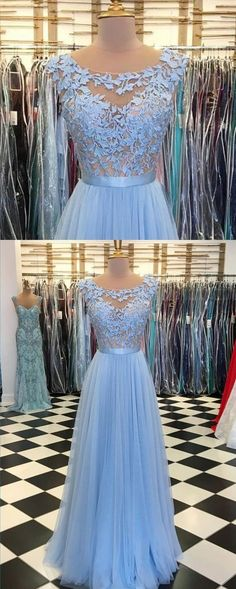 Sky blue tulle long scoop neck evening dress, long prom dress with lace appliqué M2844