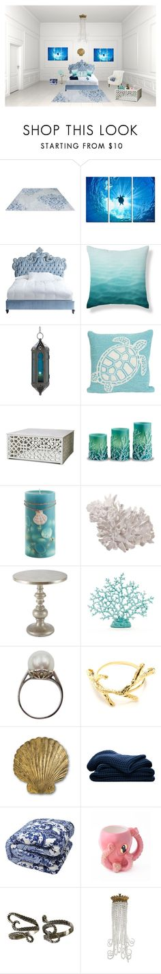 """""""Under The Sea Room"""" by sml71402 ❤ liked on Polyvore featuring interior, interiors, interior design, home, home decor, interior decorating, Ready2hangart, Haute House, Bungalow 5 and Trans-Ocean"""