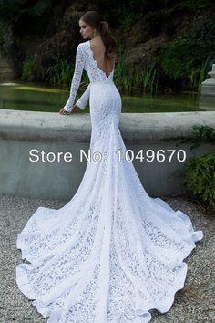 Berta 2014 Collection Long Sleeve Lace Wedding Dresses Sash  Designer  Backless Chapel Train Wedding Bridal Gowns N501 US $369.00