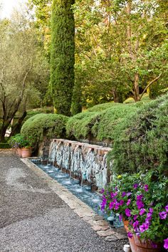 This Napa Valley Garden water feature is so organic and beautiful!