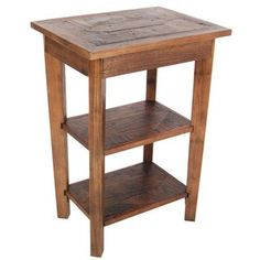 Alaterre Furniture Revive Natural Wood End Table at Lowe's. Revive Collection of reclaimed wood furniture features handcrafted design and a reduced impact on the environment. Reclaimed wood wears its history Wood End Tables, End Tables With Storage, Side Tables, Reclaimed Wood Furniture, Reclaimed Timber, Farmhouse Furniture, Making Ideas, Living Room Furniture, Living Rooms