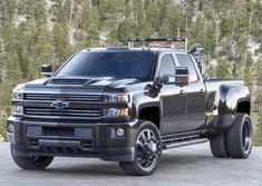 Six-wheeled Chevrolet Silverado safety car for US drag racing series - 2017 SEMA Dually Trucks For Sale, Diesel Trucks, Cool Trucks, Chevy Trucks, Pickup Trucks, Chevrolet Silverado, Chevy Duramax, Silverado 3500, Chevrolet Colorado