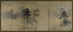 """""""Pine Trees in Moonlight,"""" attributed to Hasegawa Tohaku (1539-1610), Japan, pair of six-panel screens, ink and gold wash on paper, each 59 1/4"""" by 138 1/4"""""""