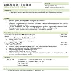 Teaching Resumes For New Teachers | Free Elementary Teacher Resume Template  Example