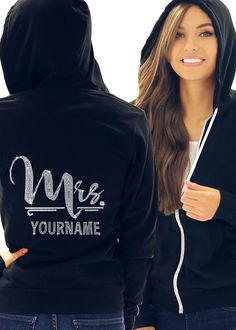 Foxy Mrs. with Custom Last Name Cursive Bride Rhinestone Women's Zip Up Hoodie ** You can get additional details at the image link.