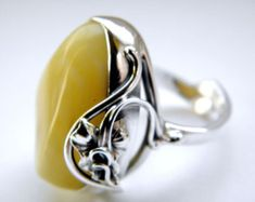 Baltic amber sterling silver ring   adjustable by MartSilver