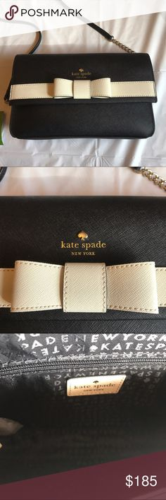 """🆕 ♠️️KATE SPADE ♠️KIRK PARK saffiano VERONIQUE! NWT ♠️️KATE SPADE ♠️ KIRK PARK saffiano VERONIQUE! NWT! NEVER USED! Black with white bow! Beautiful bag! Inside has one Zip compartment and two open slot pockets! Crossbody that has some chain detail! From a smoke free home!  🎉OPEN TO OFFERS🎉  Measurements: 10""""(L)x 6""""(H)x 1.5""""(W) kate spade Bags Crossbody Bags"""