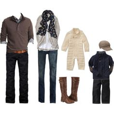 fabulous outfits for the fall family photo shoot - especially like the elbow patch sweater and hat.