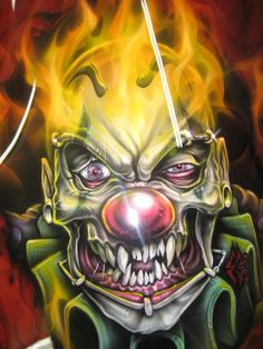 Airbrushed clown skull on front fairing by Jonny5nLala on DeviantArt