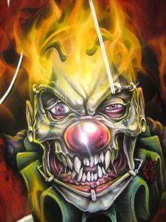 Airbrushed clown skull on front fairing by Jonny5nLala on DeviantArt