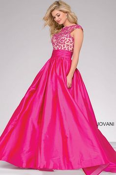 Fuchsia Open Back A-Line Prom Dress 40556